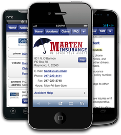Mobile insurance website for Marten Insurance, Inc. at m.marteninsurance.com